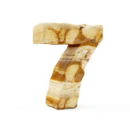 Caramel Peanut Numbers isolated on white (Number 7). 3D Rendering Stok Fotoğraf - 146736781