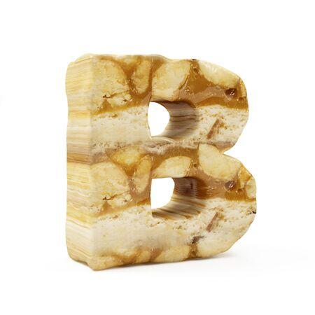 Caramel Peanut Alphabet isolated on white (Letter B). 3D Rendering
