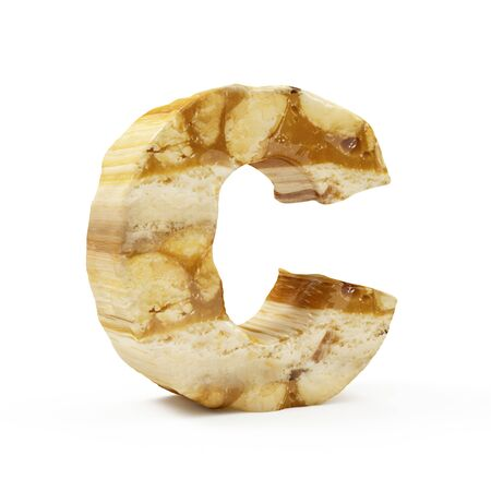 Caramel Peanut Alphabet isolated on white (Letter C). 3D Rendering Stok Fotoğraf - 146651468