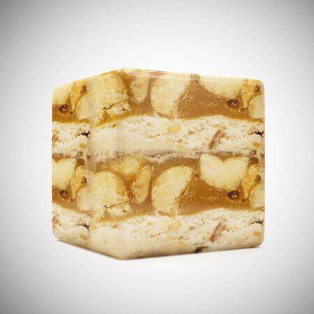 Caramel Peanut Cube on gradient background. 3D Rendering Stok Fotoğraf - 146736782