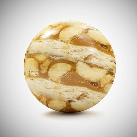 Caramel Peanut Sphere on gradient background. 3D Rendering Stok Fotoğraf