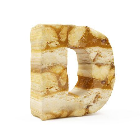 Caramel Peanut Alphabet isolated on white (Letter D). 3D Rendering Stok Fotoğraf