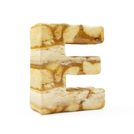 Caramel Peanut Alphabet isolated on white (Letter E). 3D Rendering