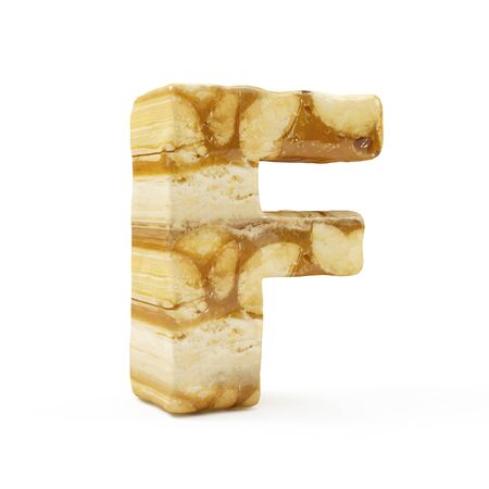 Caramel Peanut Alphabet isolated on white (Letter F). 3D Rendering Stok Fotoğraf - 146652301