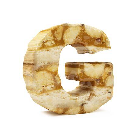 Caramel Peanut Alphabet isolated on white (Letter G). 3D Rendering