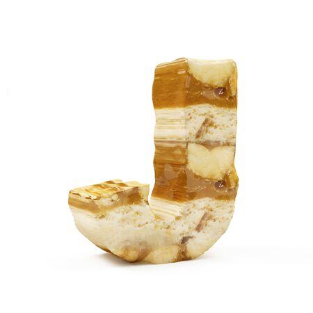 Caramel Peanut Alphabet isolated on white (Letter J). 3D Rendering Stok Fotoğraf