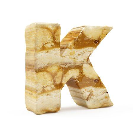 Caramel Peanut Alphabet isolated on white (Letter K). 3D Rendering