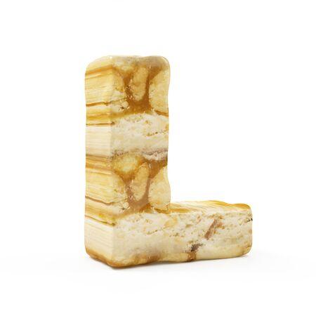 Caramel Peanut Alphabet isolated on white (Letter L). 3D Rendering