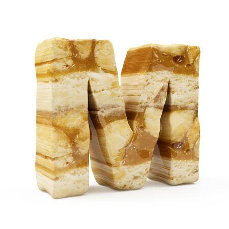Caramel Peanut Alphabet isolated on white (Letter M). 3D Rendering
