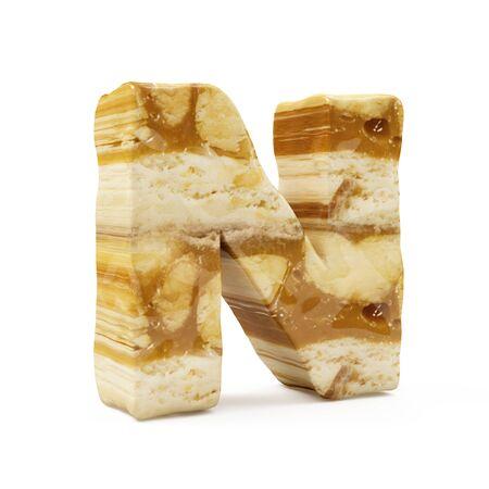 Caramel Peanut Alphabet isolated on white (Letter N). 3D Rendering