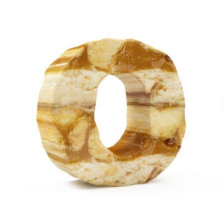 Caramel Peanut Alphabet isolated on white (Letter O). 3D Rendering