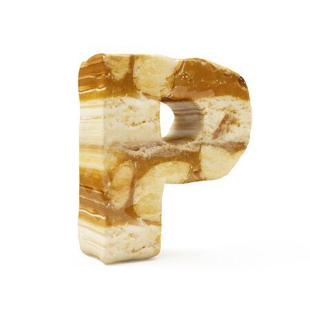 Caramel Peanut Alphabet isolated on white (Letter P). 3D Rendering