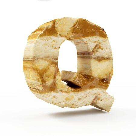 Caramel Peanut Alphabet isolated on white (Letter Q). 3D Rendering