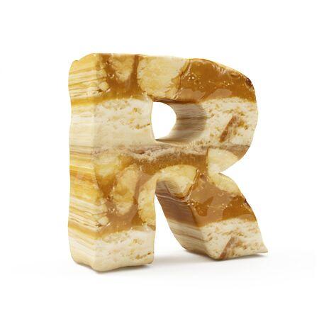 Caramel Peanut Alphabet isolated on white (Letter R). 3D Rendering