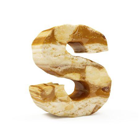 Caramel Peanut Alphabet isolated on white (Letter S). 3D Rendering