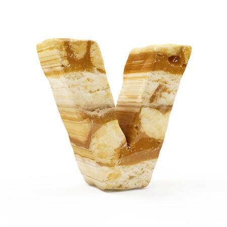 Caramel Peanut Alphabet isolated on white (Letter V). 3D Rendering