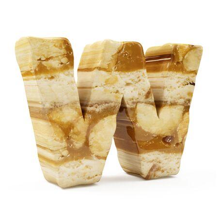 Caramel Peanut Alphabet isolated on white (Letter W). 3D Rendering