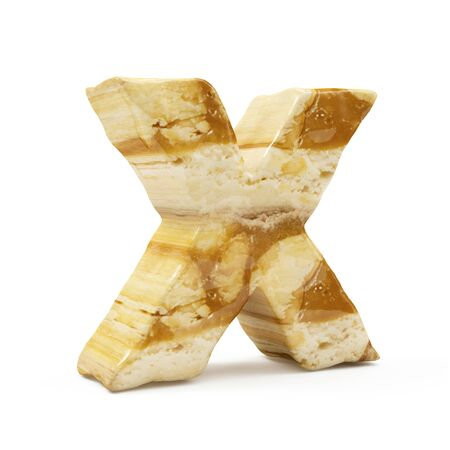 Caramel Peanut Alphabet isolated on white (Letter X). 3D Rendering