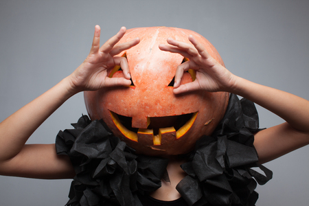 Funny pumpkin face photo