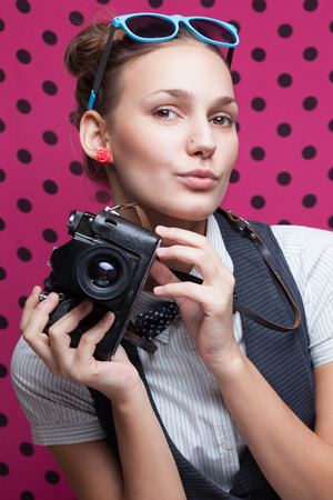 trendy girl posing during a taking selfie Reklamní fotografie