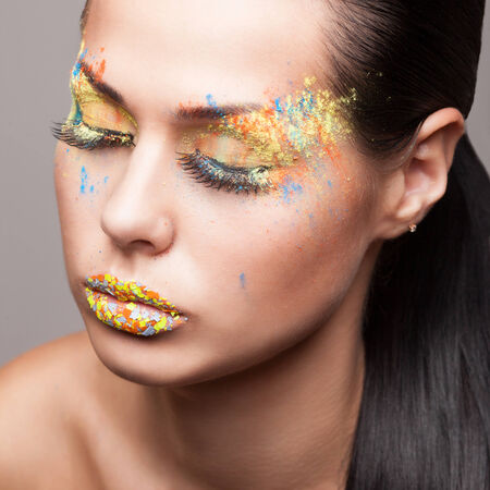 faceart: Faceart closeup with colored powder
