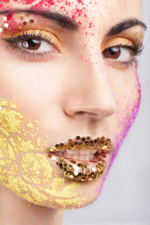 Closeup of model with extraordinary makeup photo