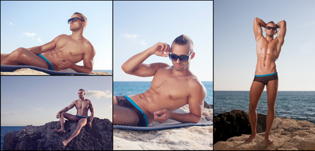 oiled: collage of sporty guy showing his perfect oiled body Stock Photo