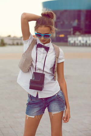 trendy girl: trendy girl posing Stock Photo
