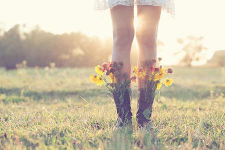 ブーツで創造的な花束 写真素材