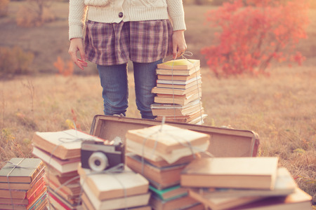 Hipster girl ready to reading Stockfoto