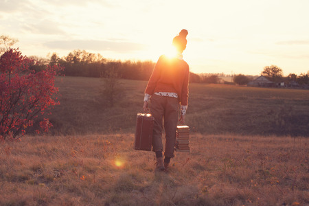 Hipster styled leaving woman Archivio Fotografico