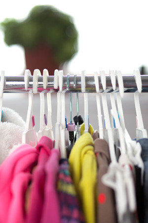 clothes rack: Colorful Closeup of child clothes rack
