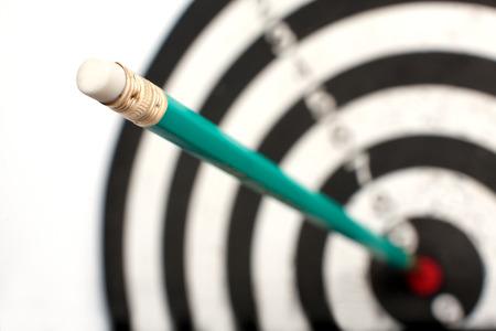 bullseye: Concept of exact word. Successful work of journalist Stock Photo
