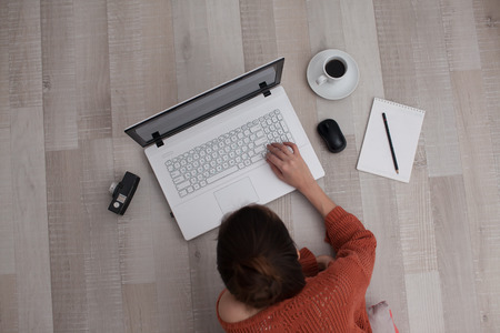 top view of using keyboard woman