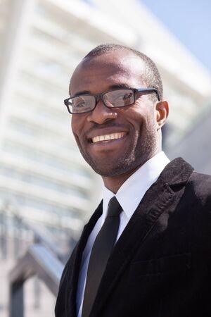 office attire: happy black businessman portrait Stock Photo