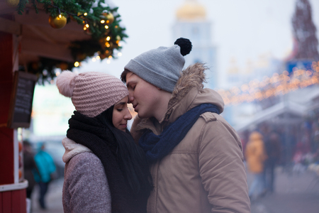 city square: Young couple have date in city square