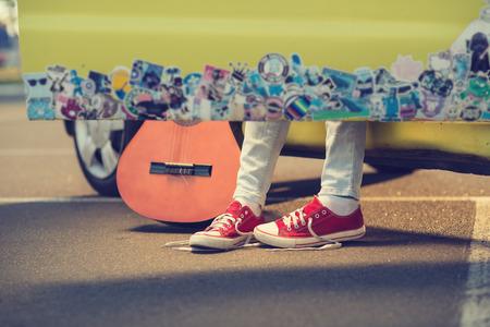 Closeup of teen sneakers. Traveler lifestyle