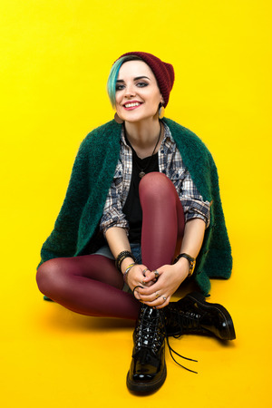 creative person style on yellow background. modern teenager. colour / colorful hairstyle Reklamní fotografie