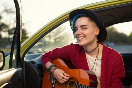 folk musician girl singing on street