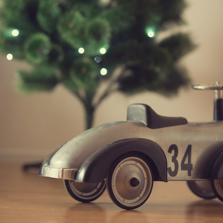 Christmas interior with toy car