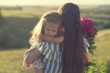little girl with mother during summer walk Reklamní fotografie