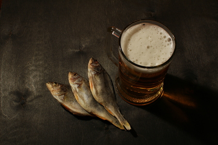 drunkenness: Russian snack . Beer and dried fish