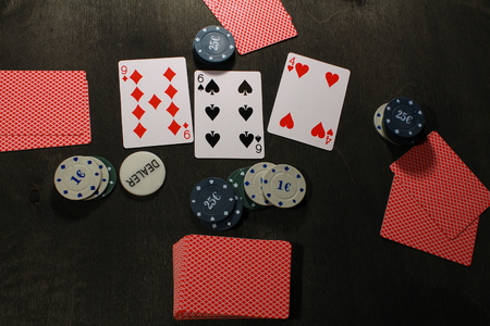 holdem: Poker play. Chips and cards,texas holdem game.
