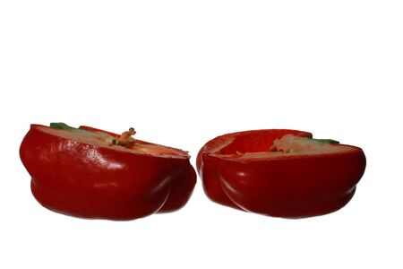 pimiento: red bell pepper, paprika isolated on white background