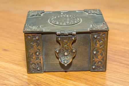 retro metal casket with jewellery