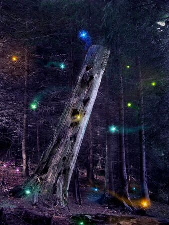 Fairies flying around the mysterious tree trunk