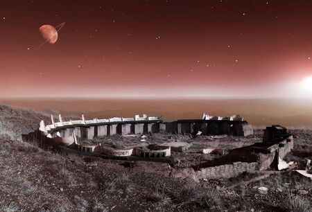 Extraterrestrial scenery with ruins of some alien civilization