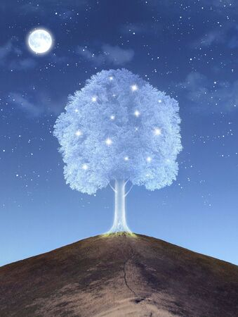 Shining magical tree on the hill Archivio Fotografico