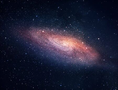 A picture of bright spiral galaxy with myriads of stars