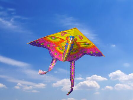 Brightly coloured kite is flying in the blue sky